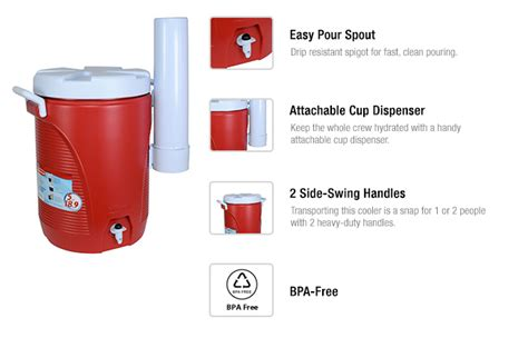 Rubbermaid 5 Gal. Modern Red Cooler With Cup Dispenser Sole East Backyard Chicken Raising Living Space Bands Of The Leveling Tv Show Makeover Hardscape Best Lighting