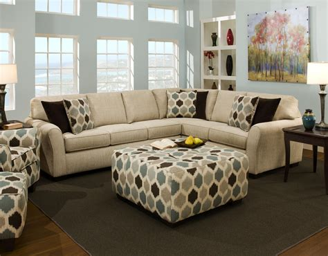 Brown Sofa And Rug In Living Room Set With Ottoman Modern House