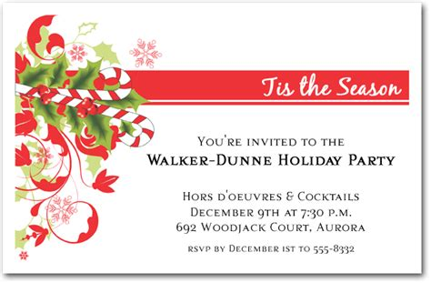 candy cane and swirls holiday invitations christmas