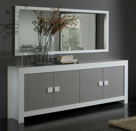 buffets de cuisine bahut 4 portes pisa laquée bicolore blanc gris blanc gris