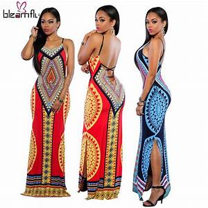African Dresses for Women Dashiki Traditional Dress Hippie ...