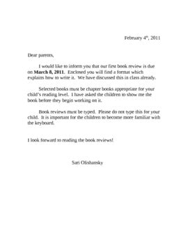 book review outline parent letter  sari olishansky tpt