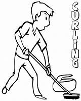 Curling Coloring Pages Olympics Winter Printable Colorings sketch template