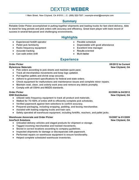 best order picker resume exle livecareer
