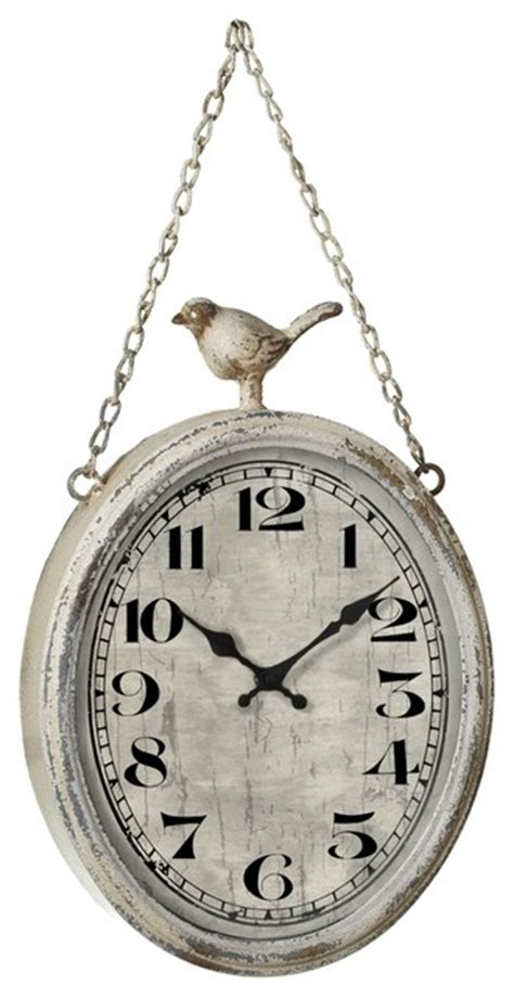 distressed ivory bird hanging wall clock contemporary