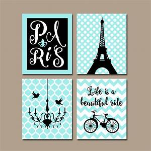 paris wall art canvas or prints eiffel tower artwork aqua With paris wall decor