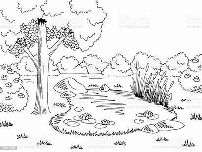 Pond Lake Landscape Sketch Outline Graphic Cartoon