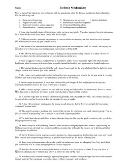 Defense Mechanisms Matching Worksheet