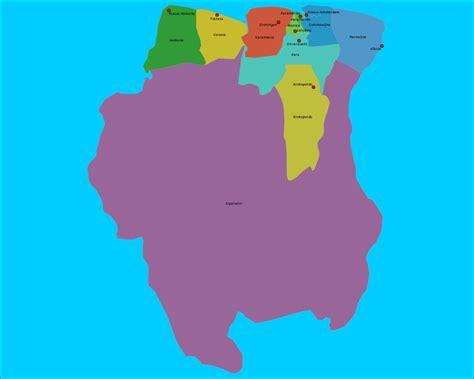 Topografie Suriname, Districten en Hoofdsteden | www ...