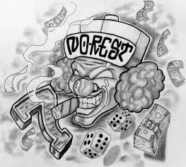 Gangster Clown Tattoo Outline Drawings