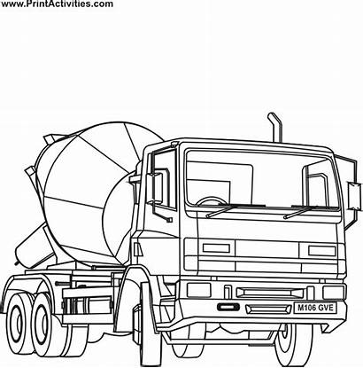 Cement Mixer Coloring Truck Crane Pages Drawing