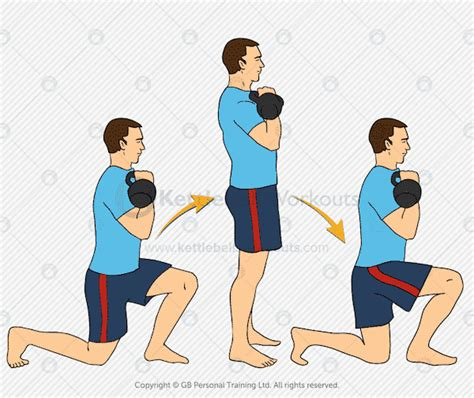 lunge kettlebell double exercise muscle fat muscles