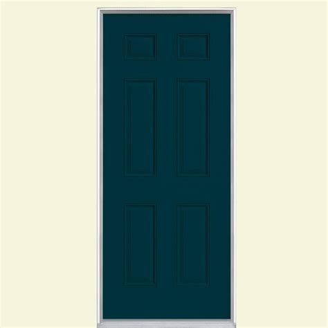 6 panel painted steel entry door with no brickmold