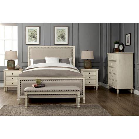 luxeo cambridge  piece white wash king bedroom set