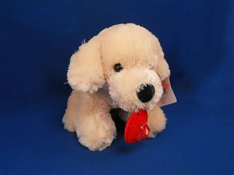 walmart cream seated dog  love  red heart  mouth