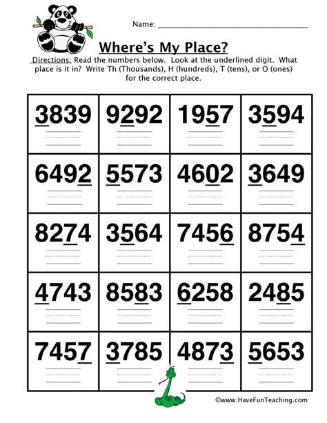 place value worksheet thousands hundreds tens ones