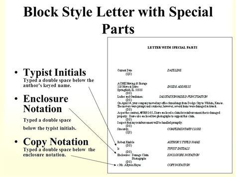business letter encl blank invoice