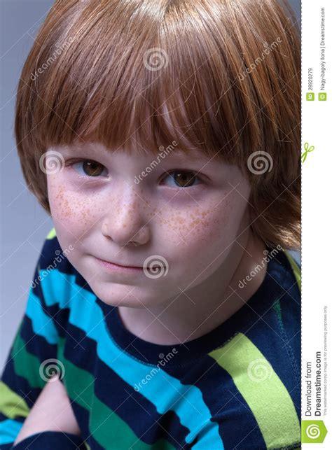 cute boy  freckles portrait royalty  stock images