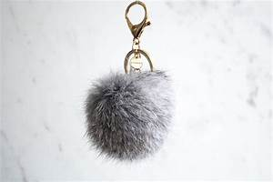 Motley Grey Fluffy Pom Pom Keyring - Crushes