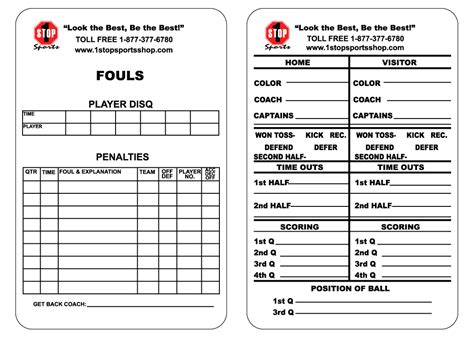 football referee game card template templates data