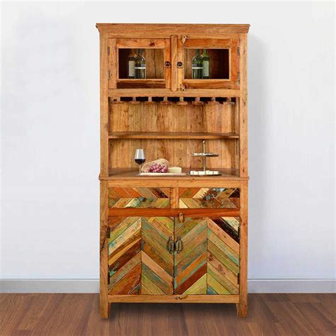 wine glass hutch rustic reclaimed wood wine bar hutch sideboard with glass