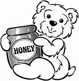 Honey Coloring Bear Jar Bees Hey Sweet sketch template