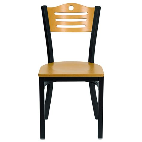hercules black slat back metal restaurant chair