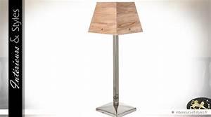 Lampe Salon Design : lampe de salon design chrome et bois 72 cm int rieurs ~ Melissatoandfro.com Idées de Décoration