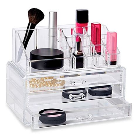 see through makeup desk buy deluxe 2 piece 3 drawer cosmetic organizer set from