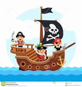 Cartoon Kids Pirate Ship Sailing Sea Stock Vector
