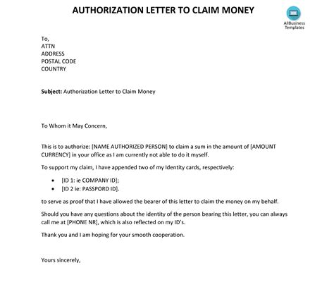 kostenloses authorization letter  claim money