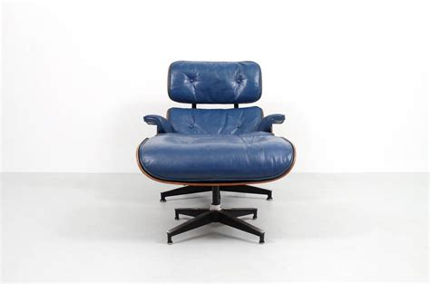blue leather eames lounge chair and ottoman for sale at