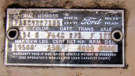 decoding warranty plate  serial number