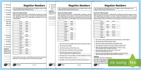 ks year  negative numbers problem solving differentiated