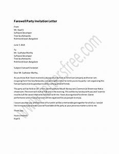 farewell party invitation letter sample With sample wedding invitation letter to colleagues