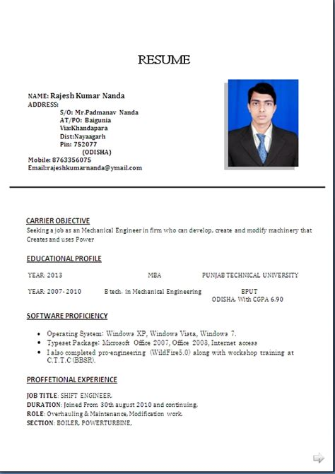 Diploma Resume Model Pdf by Diploma Mechanical Engineer Resume Best Resume Exle