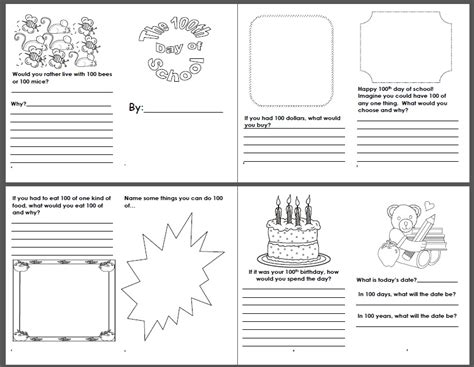 100 days of school lesson links ideas printables