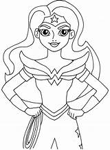 Coloring Super Hero Printable Woman Wonder Fun January sketch template