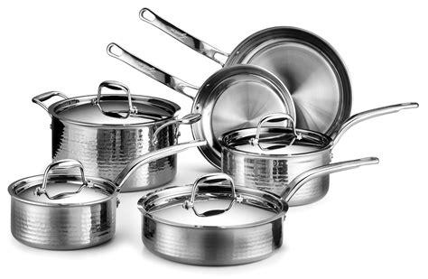 lagostina martellata tri ply hammered stainless steel cookware set  piece cutlery