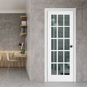 SA 15L White Primed 15 Pane Door with Clear Safety Glass