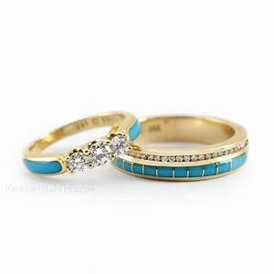 turquoise gold and diamonds for a truly southwestern look With turquoise and diamond wedding ring