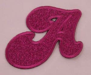 embroidered glitter pink retro bubble monogram letter  applique patch iron  ebay