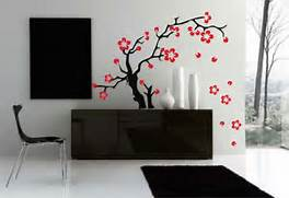 Wall Stickers Decoration Artistic Decal Wall Sticker Art Sakura Flowers Asian Tattoo Graphic Home Decor