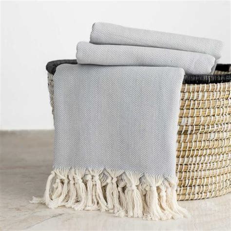 Cotton Herringbone Throw, Light Grey Hammam & Home