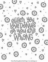 Donut Coloring Pages Printable Donuts Adult Sweet Treats Dunkin Inspired Studiodiy Getcolorings Radandhappy Colorin Printables sketch template