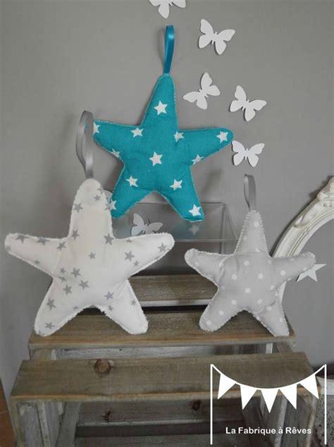deco chambre turquoise 3 étoiles à suspendre accrocher bleu turquoise blanc gris