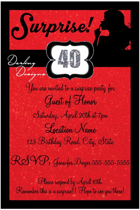 Suprise 40th birthday invitation 4X6 Red black silver