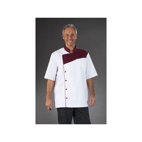tenue de cuisine tenue de cuisine blanche pastron bordeaux manches courtes