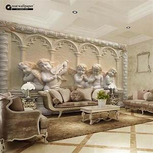 Custom any size 3D wall mural wallpaper, angel carving ...
