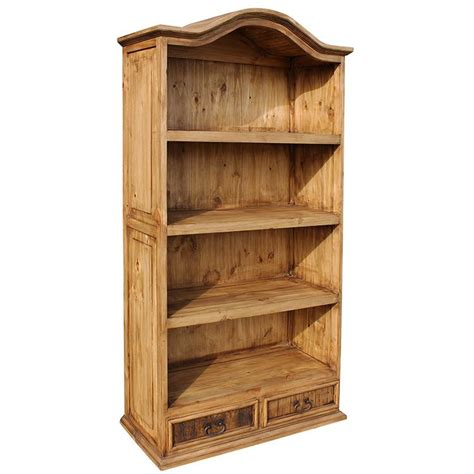Pine Bookcase by Rustic Pine Collection Bonnet Top Bookcase Lib01